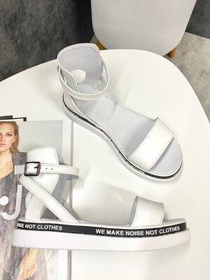 Женские белые натуральные кожаные босоножки сандалии на белой подошве из натуральной кожи кожа