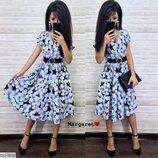 Красивое платье-миди с ремешком