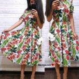 Женское платье-миди с резинкой на поясе
