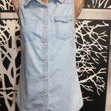 джинсовая рубашка - безрукавка Terranova в идеальном состоянии S