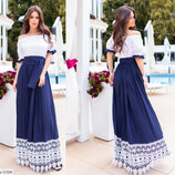 Длинное платье сарафан штапель и кружево мулине