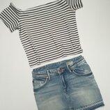 Літній набір топ джинсова спідниця.