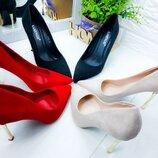 Туфли черные замш