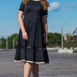 распродажа, фирменное чёрное платье с поясом и кружевом, большой размер