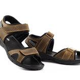 Мужские сандали кожаные летние оливковые Yuves