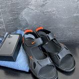 Мужские сандали кожаные летние черные Yuves
