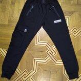 Мужские штаны David&Gerenzo чёрные с карманами на манжете