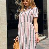 Платье летнее лен легкое в полоску