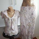 костюм шифоновый вискозный летний блузка с юбкой модный р10-12