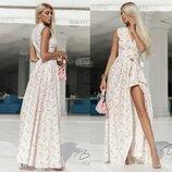 Длинное платье в пол на запах Пудра в Ромашки