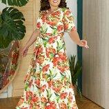 Длинные летние платья батал