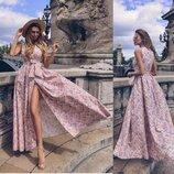 Длинное платье в пол на запах Пудра в цветы