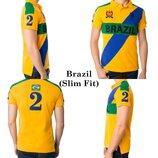 Яркая фирменная футболка поло brasil u.s. polo assn since 1890 slim fit made in bangladesh