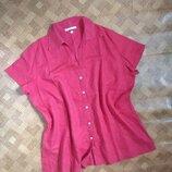 Льняная блуза рубашка 100% лён батал большой размер h&m размер 3XL/наш 56-58рр