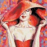 Алмазная вышивка. Леди в красной шляпе 40 40см AM1002
