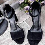 Женские чёрные натуральные замшевые босоножки на каблуке с ремешком из замши натуральная замша замш