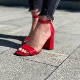 Женские натуральные красные кожаные босоножки с ремешком на каблуке из кожи натуральная кожа