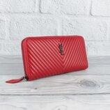 Кошелек женский кожаный на молнии ysl 5883 красный