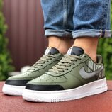 Кроссовки мужские Nike Air Force, темно зеленые 9449