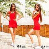 Красное Летнее Платье Майка из трикотажа
