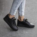 Женские чёрные натуральные кожаные кеды на чёрной подошве из натуральной кожи натуральная кожа