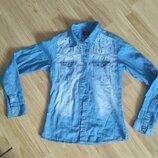 Котоновая рубашка, джинсовая, на рост 146-152