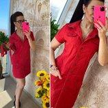 Платье летнее сафари красное. хлопок . Два размера.