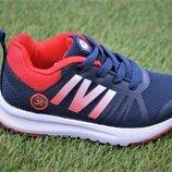 Детские светящиеся кроссовки аналог Adidas синий красный р25-30