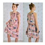 Сарафан 104-146 летнее платье софт на брителях Украина фабрика с рюшами детское.