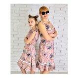 Сарафан S M L летнее платье софт на брителях Украина фабрика с рюшами для мамы.