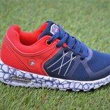 Кроссовки детские с подсветкой красный синий аналог Adidas адидас р26-30
