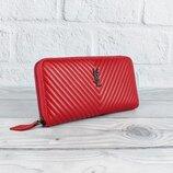 Кошелек кожаный женский на молнии красный Yves Saint Laurent 5883