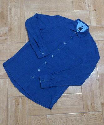 Рубашка мужская синяя льняная с длинным рукавом Сорочка лляна синя чоловіча Olymp Casual
