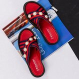Код 3410 Босоножки-Шлепки. Декор- жемчуг. Материал верха-обувной текстиль. Стелька- натуральная кож