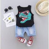 Летний костюм с динозавром для мальчика майка и джинсовые шорты р.80-110