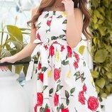 Платье сарафан на пуговицах с пуш ап коттон принт цветы черный белый зелёный красный