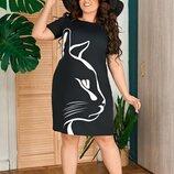 Женское летнее платье батал ткань костюмка арт.68224 скл.1
