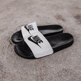 Мужские тапки Nike Slippers Black&White | 41-45.