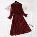 Шифоновое плиссированные платье 9 расцветок Новинка