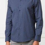 Мужская рубашка синяя в узорчик HUGO BOSS L