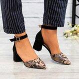 Туфли открытые, натуральная замша и кожа, черные, рептилия