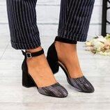 Туфли открытые, натуральная замша и кожа с тиснением, черные