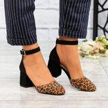Туфли открытые, натуральная замша, черные с лео
