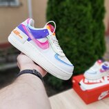 Кроссовки женские Nike Air Force 1 Shadow DOUBLE SWOOSH SAIL PINK PURPLE