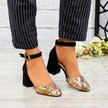 Туфли открытые, натуральная замша и кожа, черные, цветы