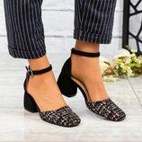 Туфли открытые, натуральная замша и кожа, черные