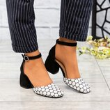 Туфли открытые, натуральная замша и кожа, черные, горох