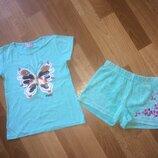 Мятный комплект футболка с паетками шорты