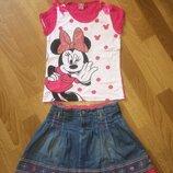 Комплект Джинсовая юбка футболка с минни
