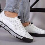 Мужские кожаные кеды с перфорацией мокасины спортивные туфли повседневные удобные топ качество